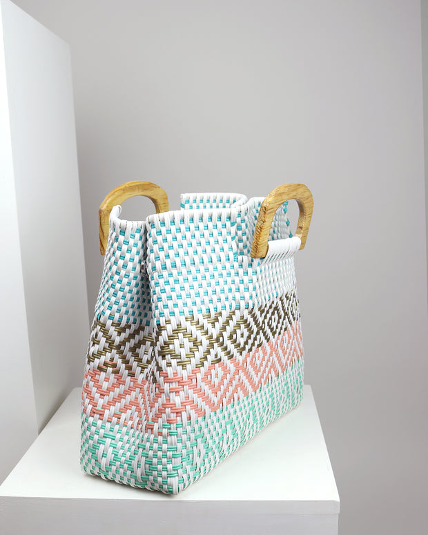 Camila Wooden Handle Woven Tote