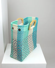 Valentina Wooden Handle Woven Tote