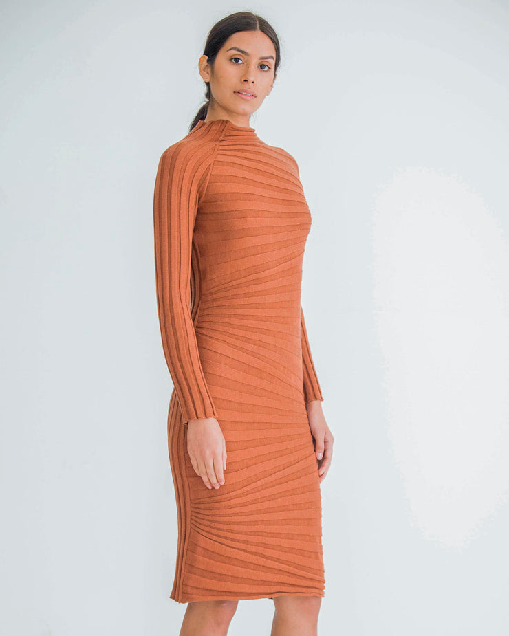 Copper Knitted Midi Dress