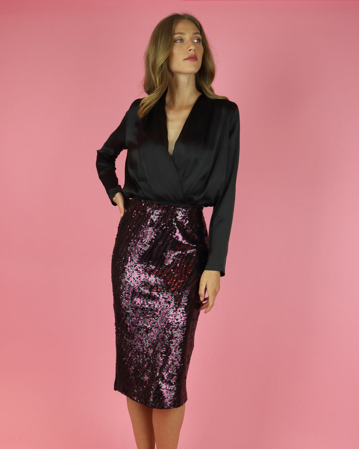 IZAAK AZANEI | BLAIZ | Purple Zebra Sequin Midi Skirt
