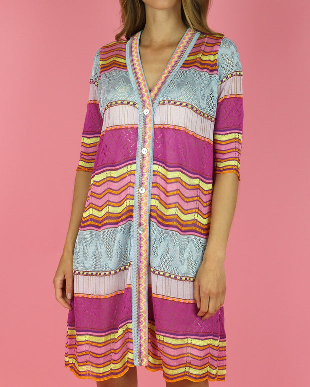 Zig Zag Straight Cut Cardigan