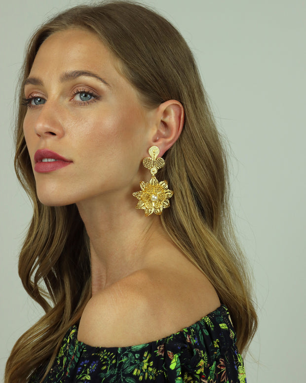 Gold Rhapsody Long Rose Earrings