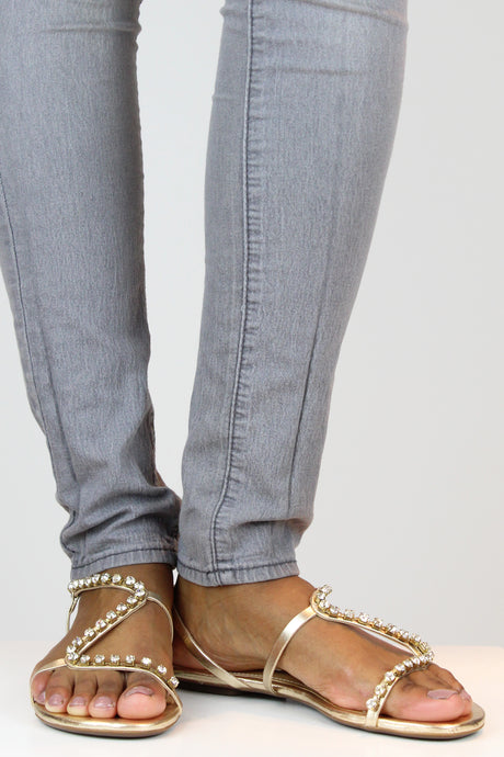Gold Crystal Flat Sandals