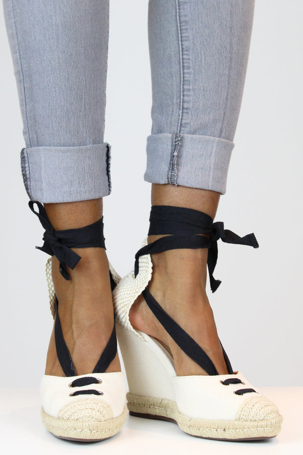 Off White Canvas Wedges