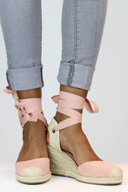 Light Pink Espadrille Wedges