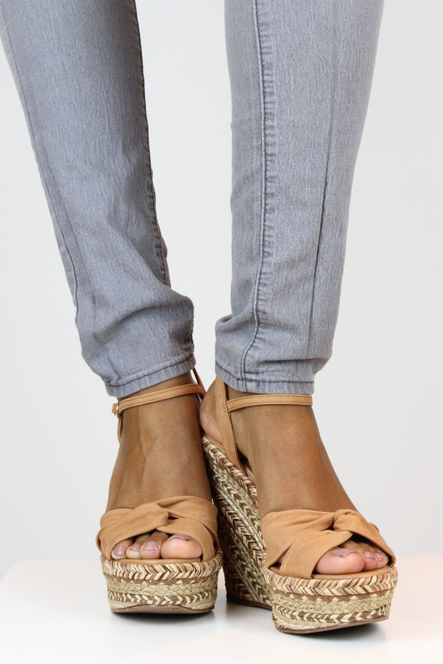 AREZZO | BLAIZ | Tan Suede Braided Wedges Raffia Suede Heels Natural Brown Beige Neutral