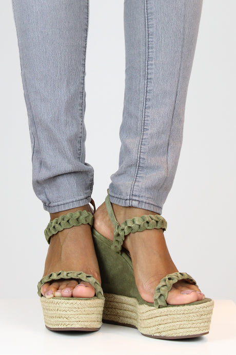 Green Braided Strap Suede Wedges