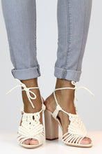 Load image into Gallery viewer, White High Heel Macrame Sandals