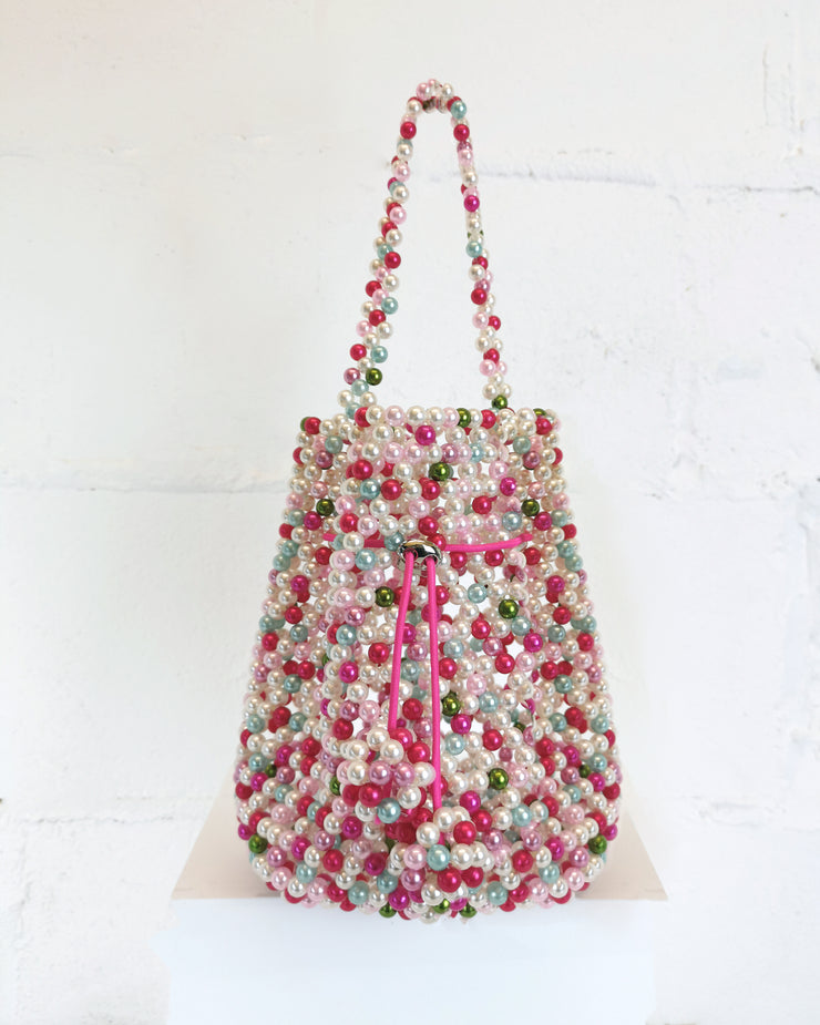 227 | BLAIZ | Multi Pink Beaded Handbag