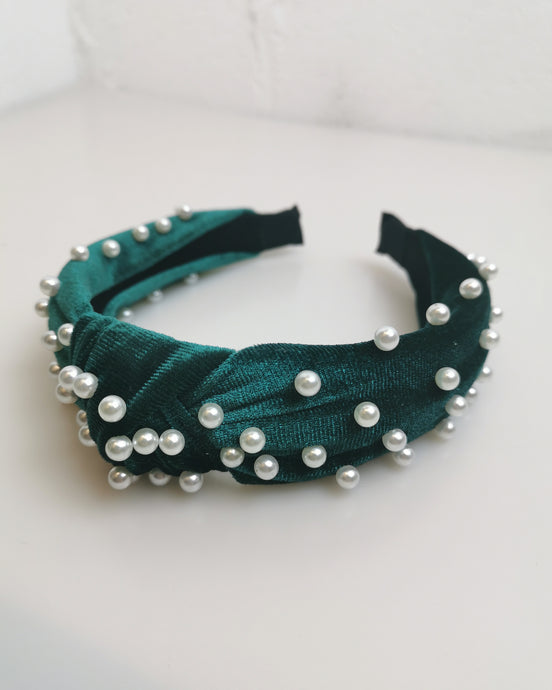 Emerald Green Pearl Headband