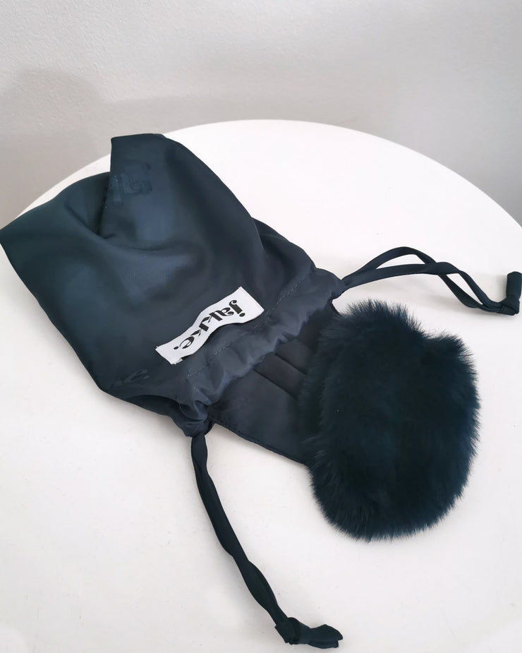 BLAIZ | Jakke | Felicity Facemask Teal, face mask, earmuff mask, recycled faux fur made from plastic bottles