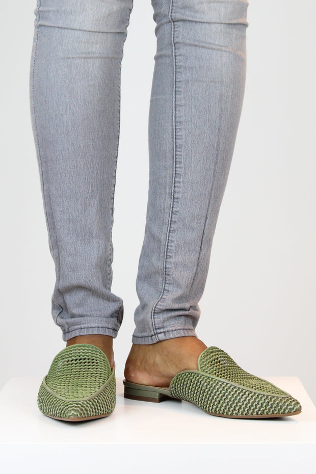 AREZZO | BLAIZ | Green Raffia Pointed Mules Army Green Khaki Green Flats Natural