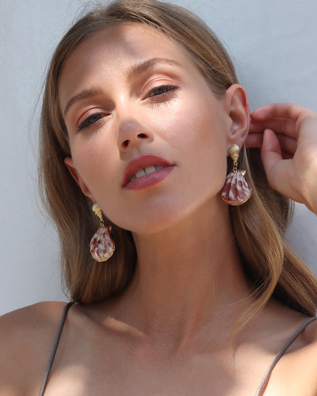 MARBLE PINK SHELL EARRINGS