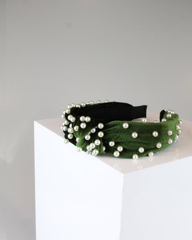 Forest Green Pearl Headband