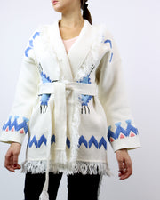 BLAIZ | Mitawa | White Embroidered Comanche Cardigan Cotton