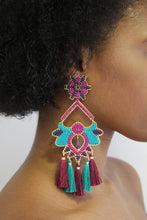 Load image into Gallery viewer, Teal & Violet Flower Earrings