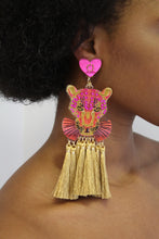 Load image into Gallery viewer, Pink & Gold Panther Earrings