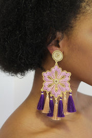 Lilac Hibiscus Flower Earrings