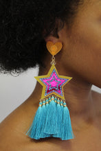 Load image into Gallery viewer, Pink & Blue Star Earrings