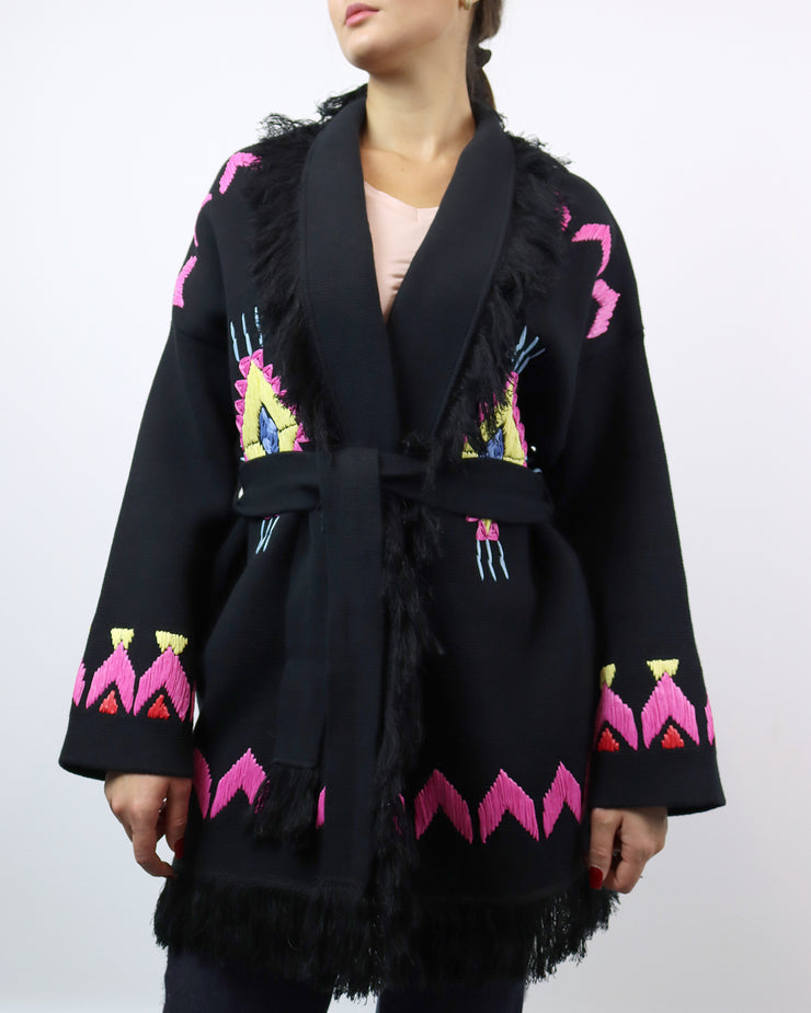 BLAIZ | Mitawa | Black Embroidered Comanche Cardigan Cotton