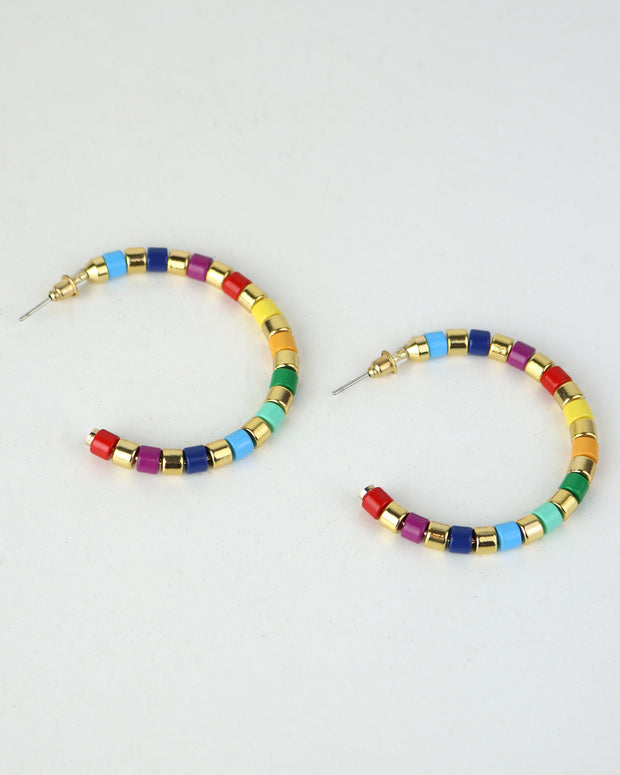 Rainbow & Gold Striped Hoops