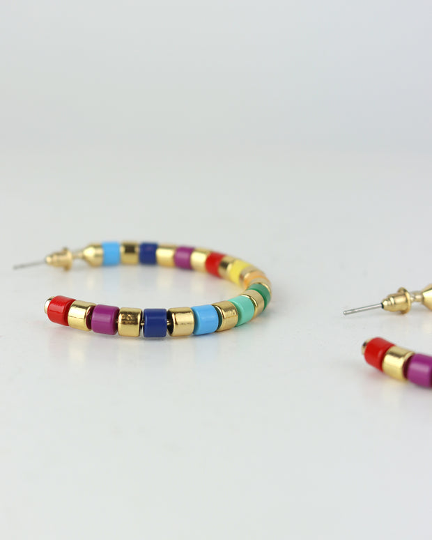 BLAIZ | 227 | Rainbow & Gold Striped Hoops