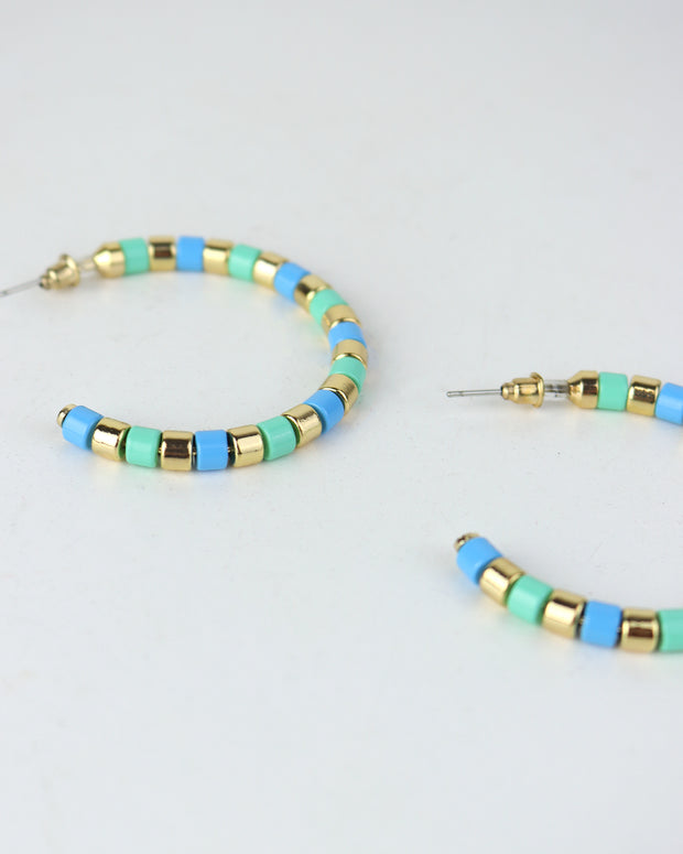 BLAIZ | 227 | Blue & Green Striped Hoops