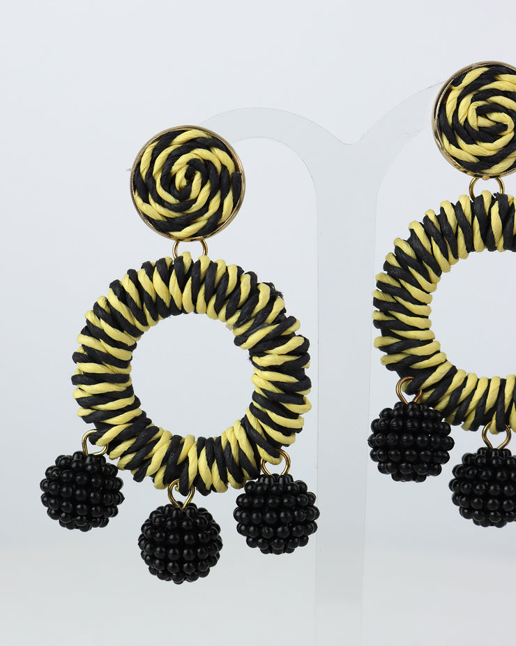 BLAIZ | 227 | Black & Yellow Striped Bobble Earrings