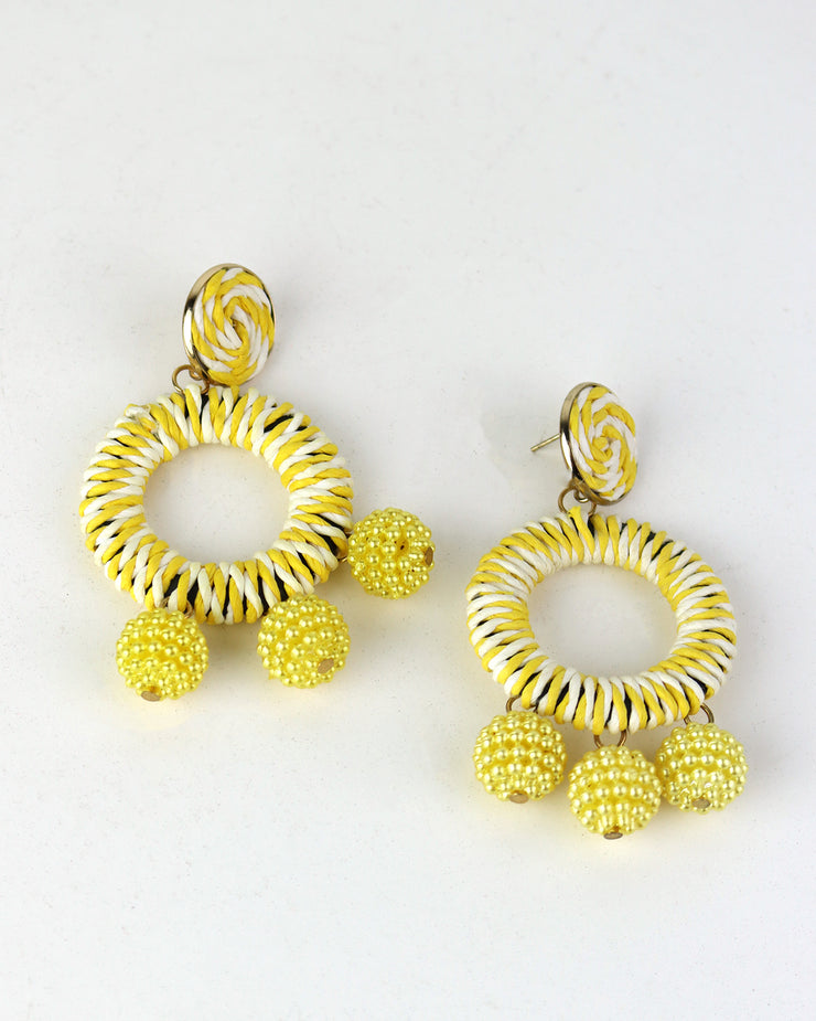 BLAIZ | 227 | Lemon Yellow Striped Bobble Earrings