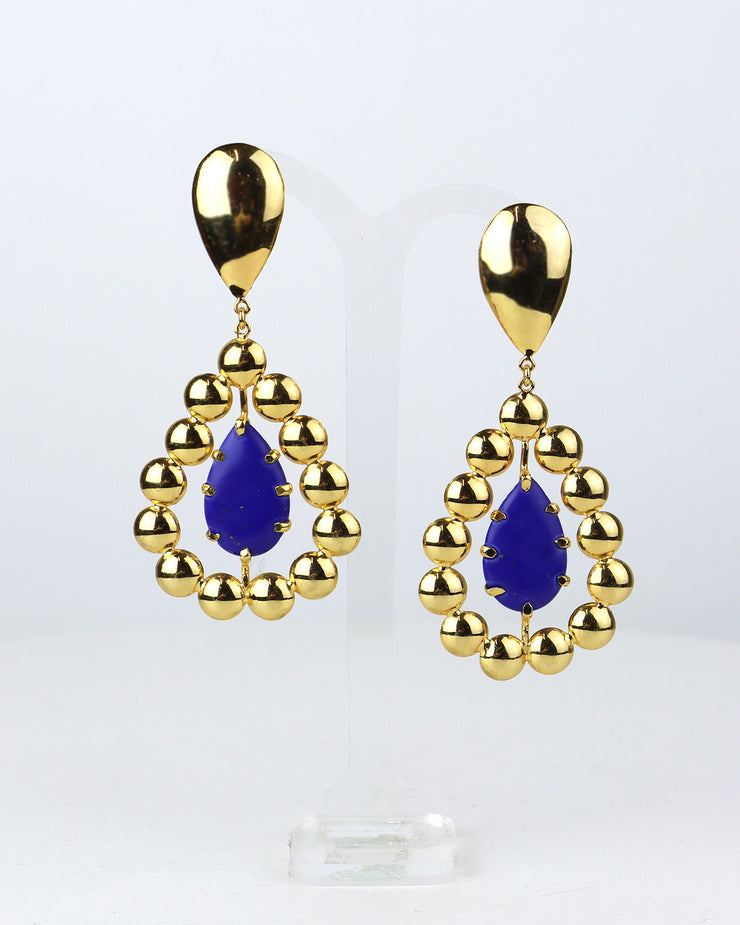 Blue Jasper Gold Leem Earrings