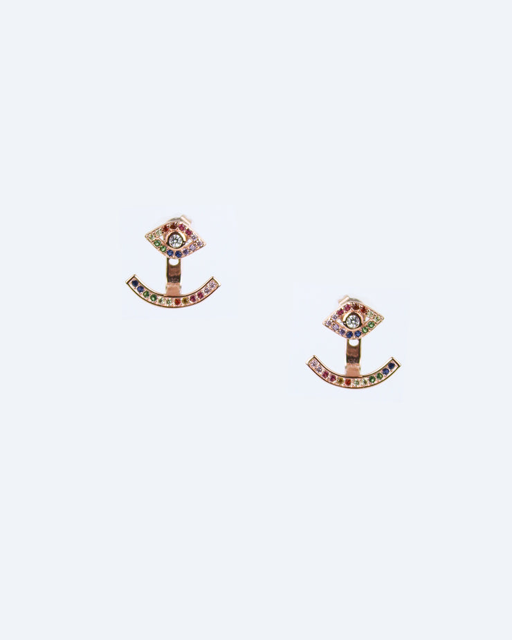 Rose Gold Evil Eye Jacket Earring