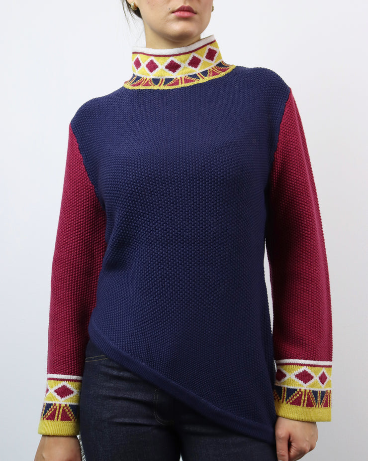 BLAIZ | Mitawa | Navy, Burgundy & Yellow Tribe Seed Sweater Merino Wool