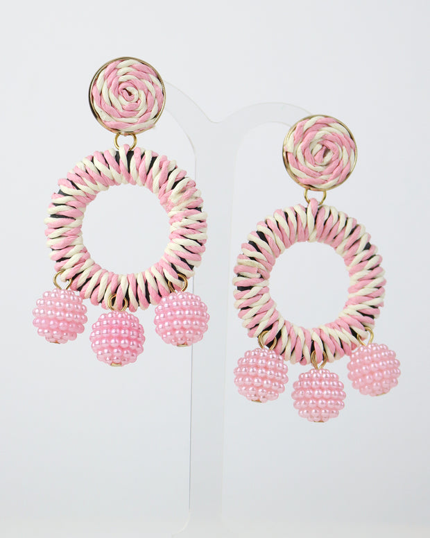 Candy Pink Striped Bobble Earrings
