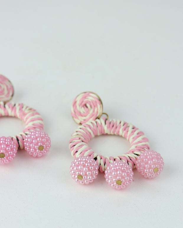 BLAIZ | 227 | Candy Pink Striped Bobble Earrings