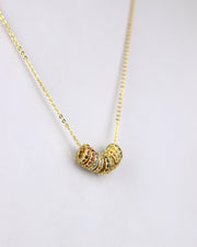 Gold Gem Mini Disc Necklace
