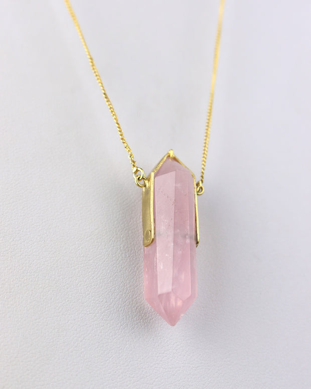 Gold & Pink Crystal Necklace