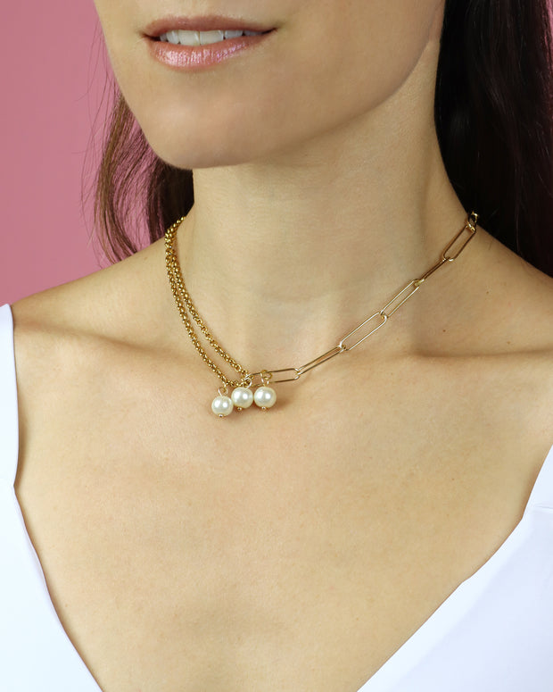 Double Chain & Pearls Necklace