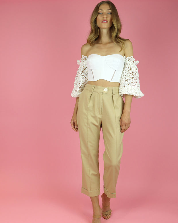 SKAZI | BLAIZ | CAMEL HIGH WAIST CROPPED TROUSERS