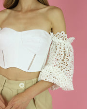 SKAZI | BLAIZ | WHITE LACE CROP TOP