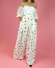 White Square Print Trousers