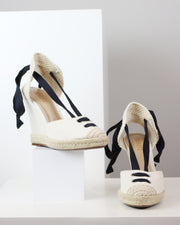 SCHUTZ | BLAIZ | Off-White Canvas Wedges Heels Natural Raffia