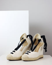 Off-White Canvas Wedges