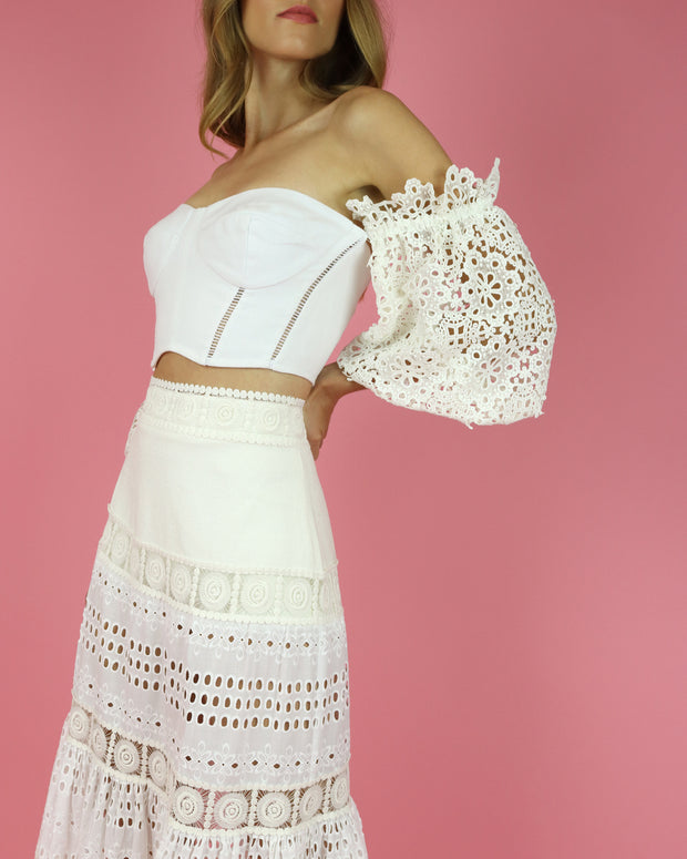 SKAZI | BLAIZ | WHITE LACE MAXI SKIRT