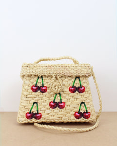 Small Cherry Straw Box Bag