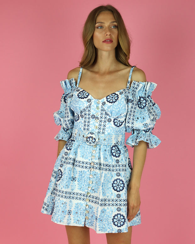 SKAZI | BLAIZ | BLUE FLORAL PRINT BELTED MINI DRESS