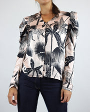 LOBO ROSA | BLAIZ | Pale Pink Palm Print Button Blouse