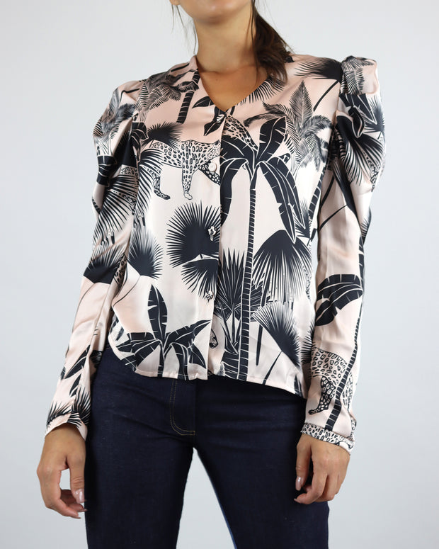 Pale Pink Palm Print Button Blouse