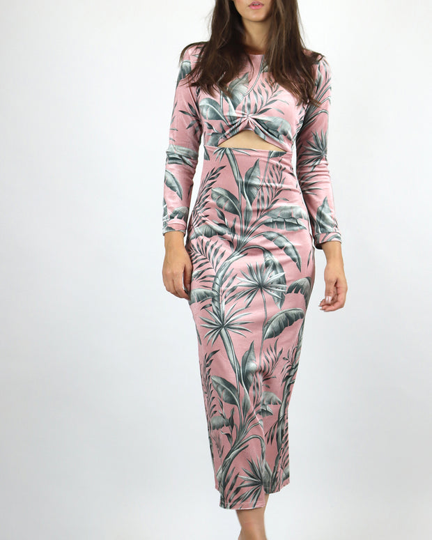 LOBO ROSA | BLAIZ | Pink Tropical Velvet Wrap Midi Dress