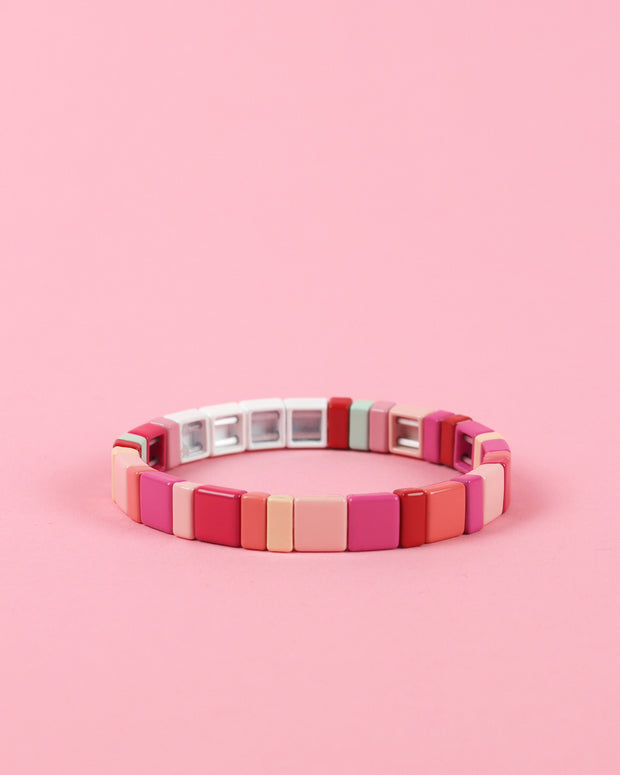 Fifty Shades Of Pink Enamel Bracelet