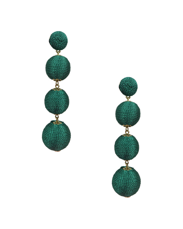 BLAIZ | 227 | Emerald Silk Thread Wrap Bobble Earrings